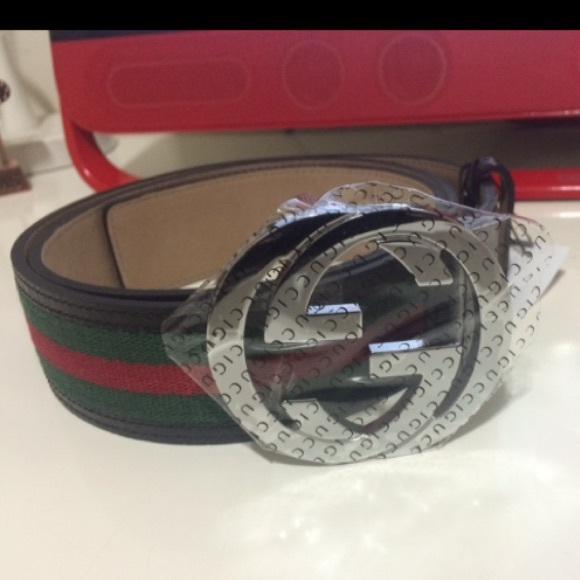 617c6411f Gucci Accessories | Men Blackredgreen Leather Web Stripe Belt | Poshmark