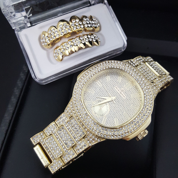 ICED OUT LAB DIAMOND WATCH   ICED OUT GRILLZ SET 76f19aef0