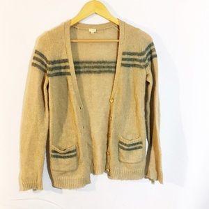 J.CREW tan varsity stripe cardigan sweater wool