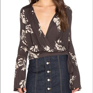 Free People Floral Bell Sleeve Top