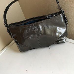 Authentic Coach leather shoulder purse grey pewter