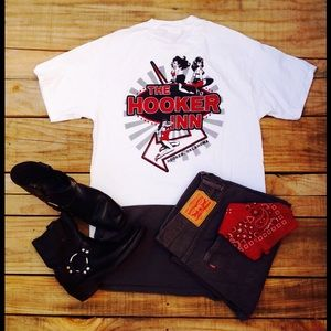 """Other - Lil Town of Hooker Oklahoma """"The Hooker Inn"""" Tee"""