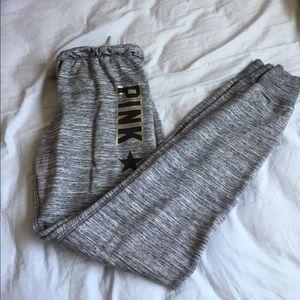 Pink VS Logo Marled Gray Jogger Sweatpants
