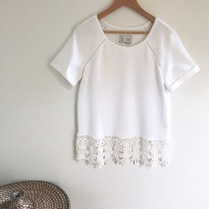 Anthropologie white lace top M