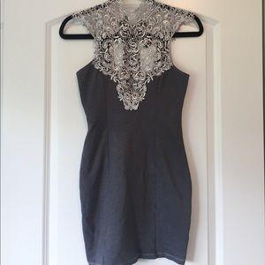 [Lulu's] Gray Lace body con mini dress - Size M