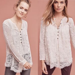 Anthropologie scalloped lace henley top