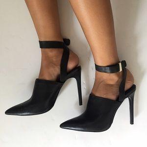 Zara black pumps with ankle strap