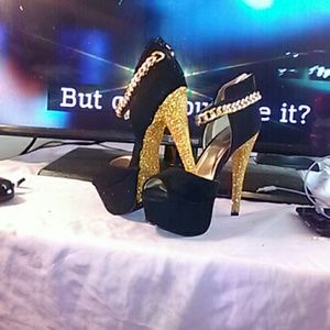 Shoes - Suede and Gold Stiletto Heels Custom Made