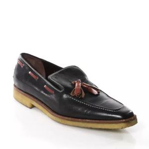 Tod's Shoes - TODS LEATHER CONTRAST STITCH TASSEL LOAFERS SZ 5.5