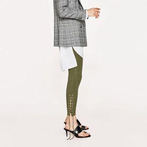 Zara skinny trousers leggings w/ lace up at bottom
