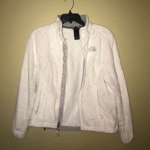 Full zip white North face jacket