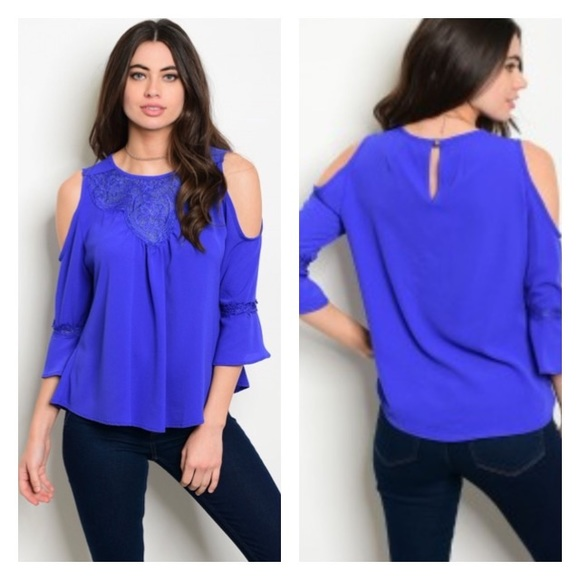 45cb39ae8d662d ⭕️FINAL PRICE⭕ Royal Blue Cold Shoulder top