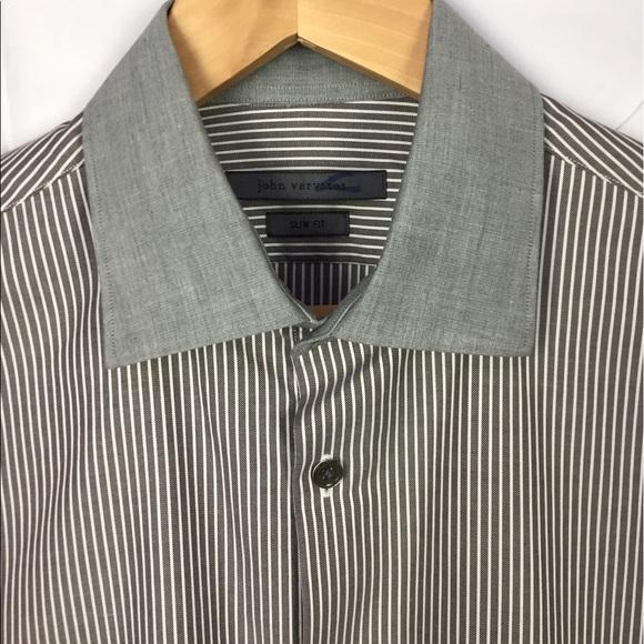 John Varvatos Gray Stripe Contrast Collar Dress Shirt 15.5 34//35