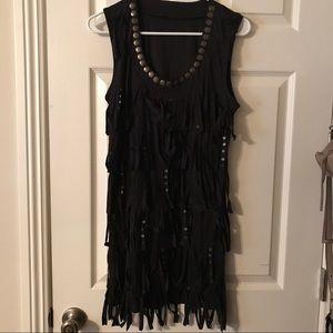 Faux suede mini fringe dress.🖤🤘🏼
