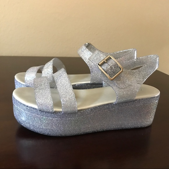 Aldo Shoes - Aldo Silver Glitter Jelly Platform Sandals