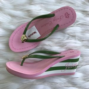 Juicy Couture Striped Wedge Flip Flops