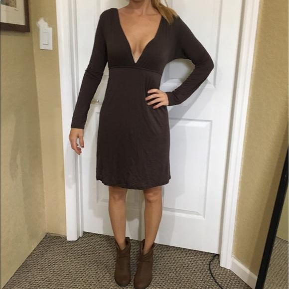 1cddc1f0befd Low cut brown dress plunging neckline