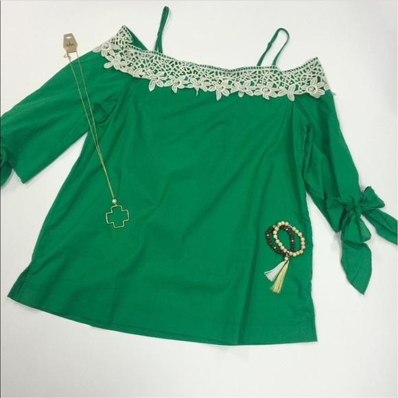 best price classic cute cheap Plus Size Off Shoulder Top, 1X, Emerald Green NWT