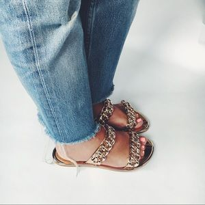 Shoes - 🆕Sofia Rose Gold Metallic Chain Link Slides Mules