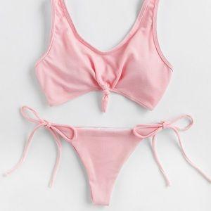 Blush Pink Knot Front Tie Bikini Set🦄