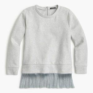 J. Crew Grey Fringe Sweatshirt