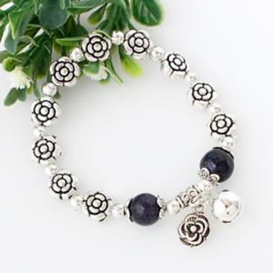 Silver Plated Rose Beaded Stretch Bracelet