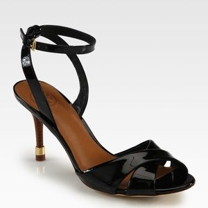 Tory Burch Patent Ankle Strap Open Toe Heels
