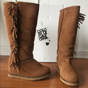 Colors of California wedge boots with Fringe