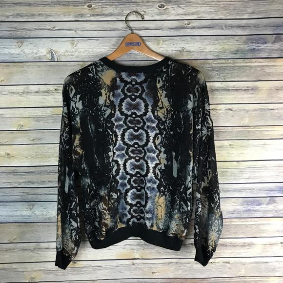 CAbi Tops - CAbi #572 Sheer Dressed Up Sweatshirt Python Top
