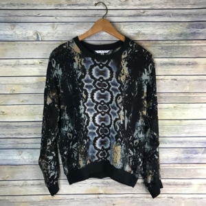 CAbi #572 Sheer Dressed Up Sweatshirt Python Top
