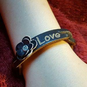 Other - Braided Leather Flower Love Bracelet