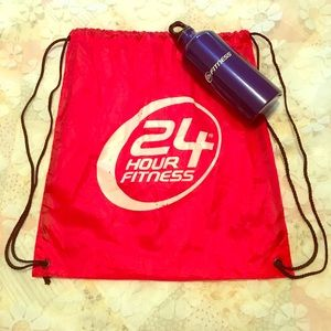 24 hour fitness water container & book bag yoga