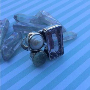 Rose quartz pearl ring  size 7 silver artisan