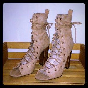Lulu's Lace-up High Heel Booties