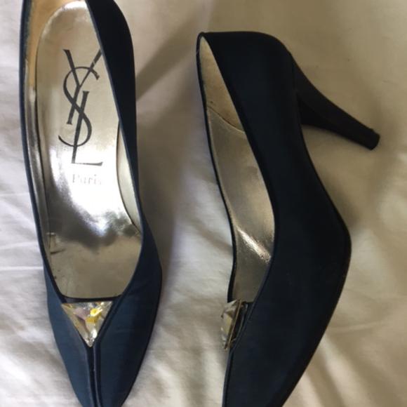 1c82ff57691 Yves Saint Laurent Navy Silk Mid Heel Evening Shoe