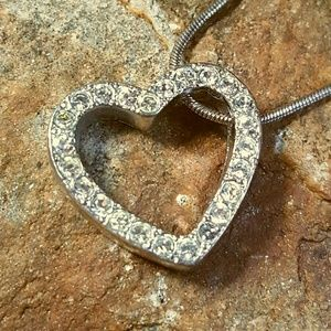 Jewelry - Silver Heart Slide Crystal Pendant Necklace