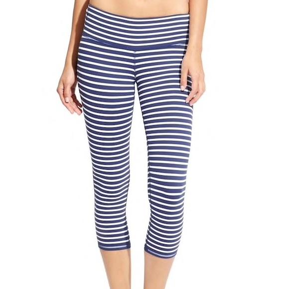37d0ce5d4ac28 Athleta Pants | Blue White Striped Chaturanga Capri Size M | Poshmark