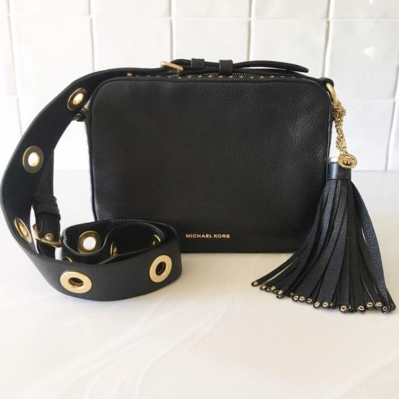 937bfad16b5c Michael Kors Brooklyn Grommet Black Cross Body Bag.  M_59655b5013302a26c7024b58