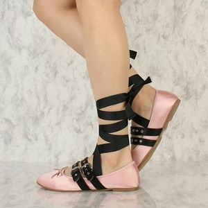 Shoes - NWT  Blush lace up BALLET flats With Buckles.