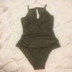 29d8f4bc519ef Ellen Tracy Swim | Last Chance Olive One Piece Bathing Suit | Poshmark