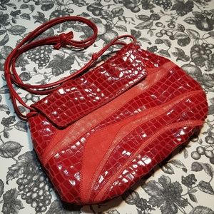 Chi by Falchi Red Leather Crossbody Purse