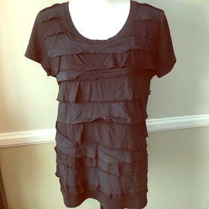 Merona Black ruffle front Tshirt top XL