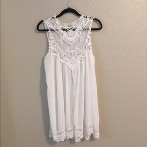 Lace Embroidered White Shift Dress