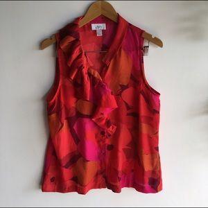 LOFT blouse bright colorful ruffle button down