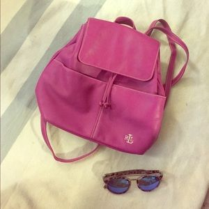 Lauren Ralph Lauren Pink Leather Backpack