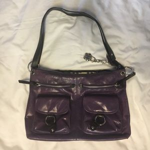 Nino Bossi Purse, Large Purple Leather Crossbody.
