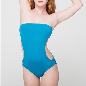 American Apparel strapless cutout swimsuit