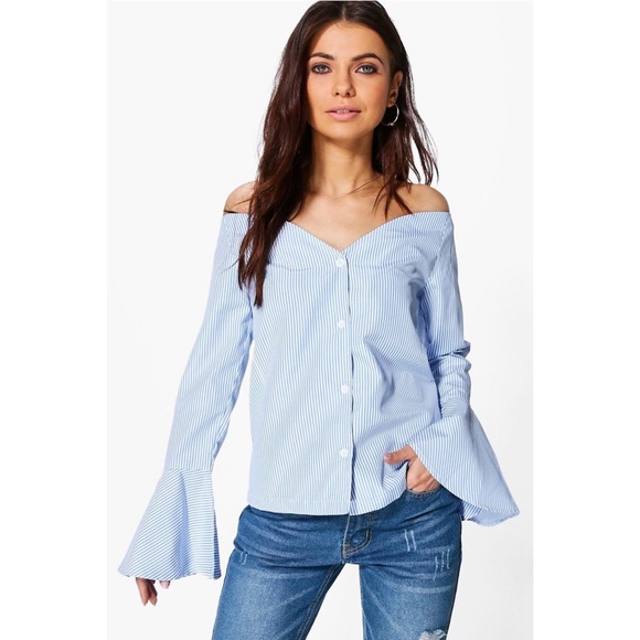 38 Off Asos Tops Blue White Striped Off Shoulder Button