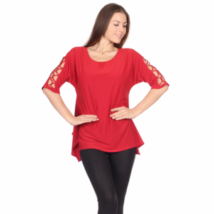 RED Lattice Arm Blouse TOP