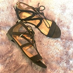 H&M Black and Gold Sandals Lace and Zipper Detail